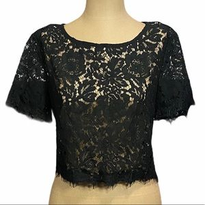 FOREVER 21 Black Lace Overlay Crop Blouse